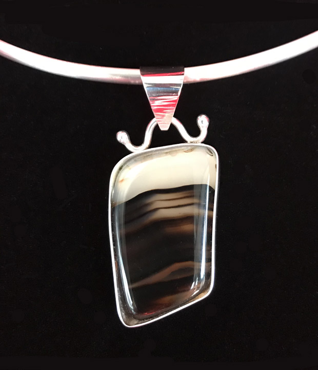Montana Agate fine silver pendant handcrafted jewelry