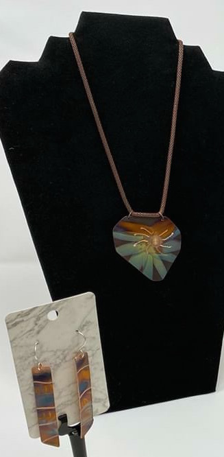 copper flame painted handcrafted earrings pendant jewelry set