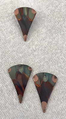 flame-painted copper pendant earring set